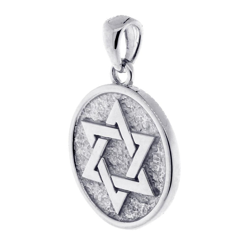 Unity, Cross Faith Charm, Jewish, Christian, Double-sided in 18K White Gold