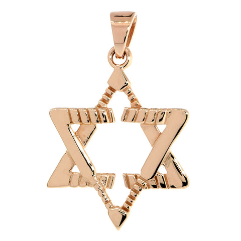 Large Jewish Star of David Goalie Hockey Sticks Charm in 14K Pink, Rose Gold