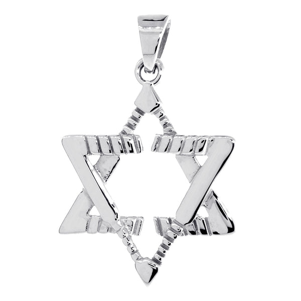 Large Jewish Star of David Goalie Hockey Sticks Charm in Sterling Silver