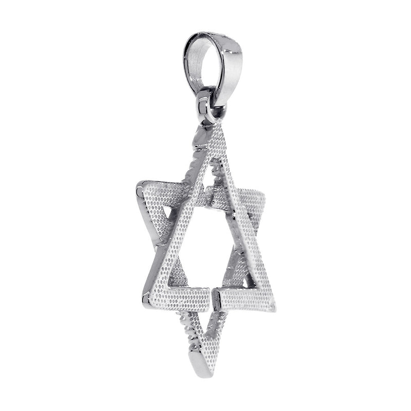 Large Jewish Star of David Goalie Hockey Sticks Charm in 14K  White Gold