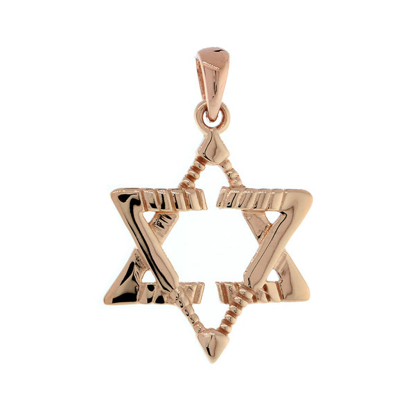 Small Jewish Star of David Goalie Hockey Sticks Charm in 14K Pink, Rose Gold