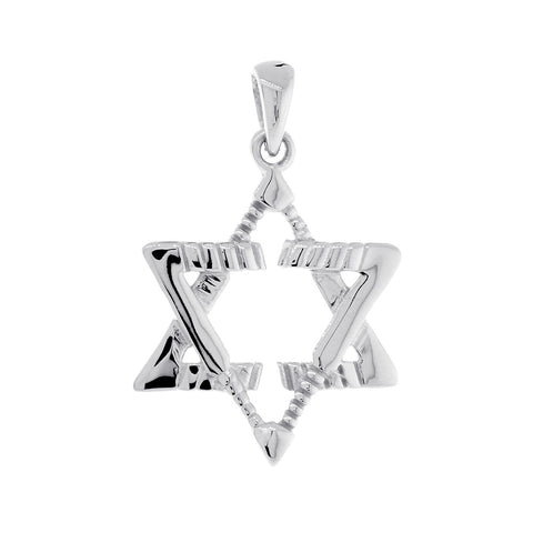 Small Jewish Star of David Goalie Hockey Sticks Charm in Sterling Silver