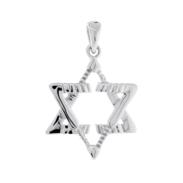 Small Jewish Star of David Goalie Hockey Sticks Charm in 14K White Gold