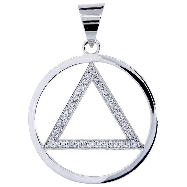 Extra Large Cubic Zirconia AA Alcoholics Anonymous Sobriety Pendant in Sterling Silver