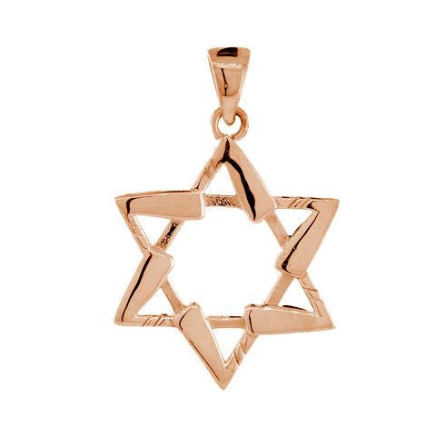 Small Jewish Star of David Hockey Sticks Charm in 14K Pink, Rose Gold