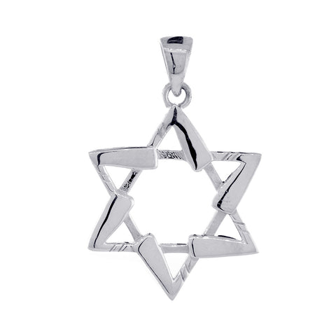 Small Jewish Star of David Hockey Sticks Charm in 14K White Gold
