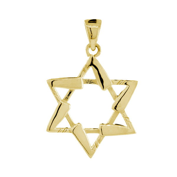 Small Jewish Star of David Hockey Sticks Charm in 14K Yellow Gold