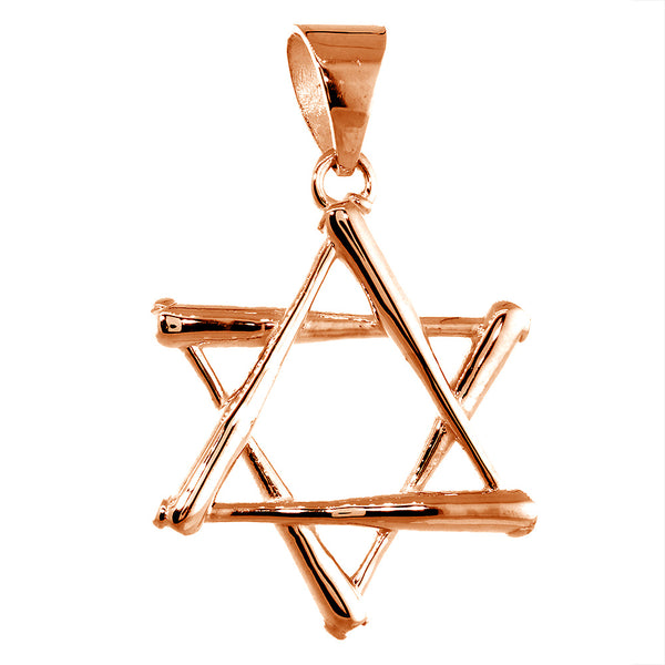 31mm Extra Large Jewish Star of David Baseball Bats Charm in 14k Pink, Rose Gold
