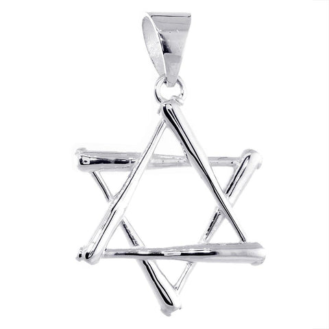 31mm Extra Large Jewish Star of David Baseball Bats Charm in 14k White Gold