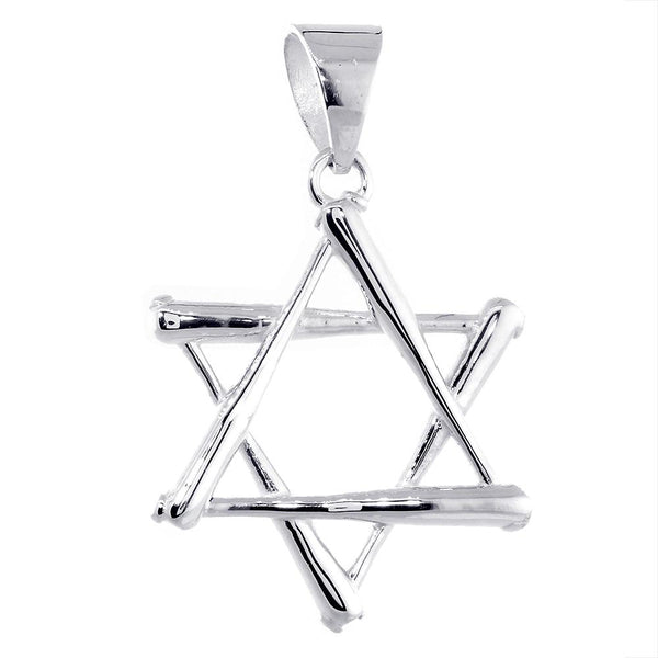Extra Large Jewish Star of David Baseball Bats Charm in Sterling Silver