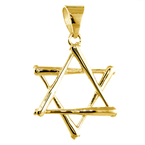 31mm Extra Large Jewish Star of David Baseball Bats Charm in 14k Yellow Gold