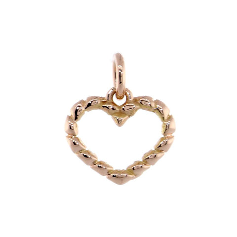 Small Open Heart Rope Charm in 14K Pink, Rose Gold