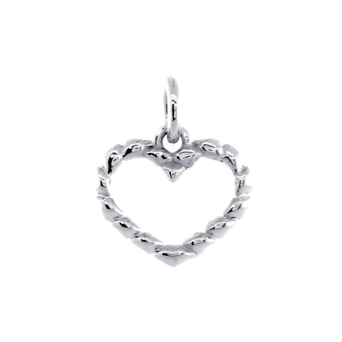 Small Open Heart Rope Charm in 14K White Gold