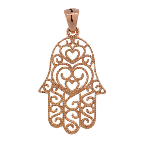 30mm Vintage Hearts Hamsa, Hand of God Charm in 14K Pink, Rose Gold