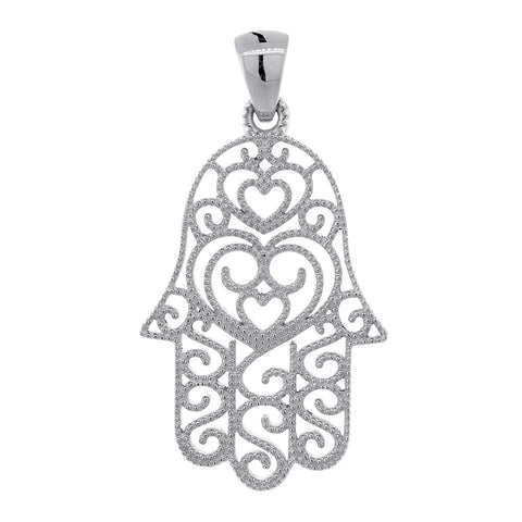 30mm Vintage Hearts Hamsa, Hand of God Charm in 14K White Gold