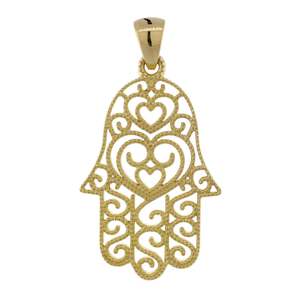 30mm Vintage Hearts Hamsa, Hand of God Charm in 14K Yellow Gold