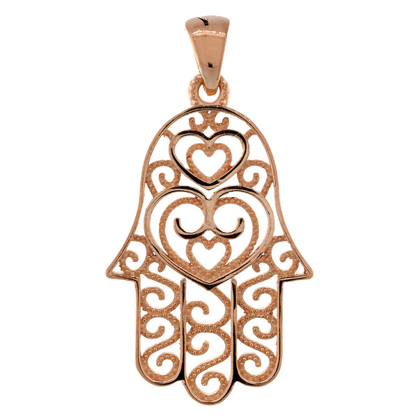 30mm Double-sided Vintage Hearts Hamsa, Hand of God Charm, 2 Levels in 14K Pink, Rose Gold