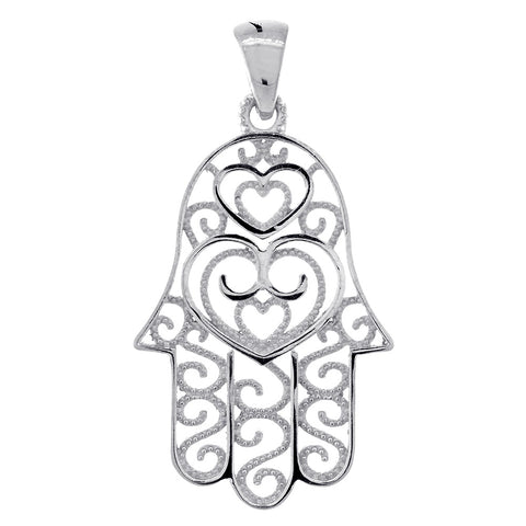 30mm Double-sided Vintage Hearts Hamsa, Hand of God Charm, 2 Levels in 14K White Gold