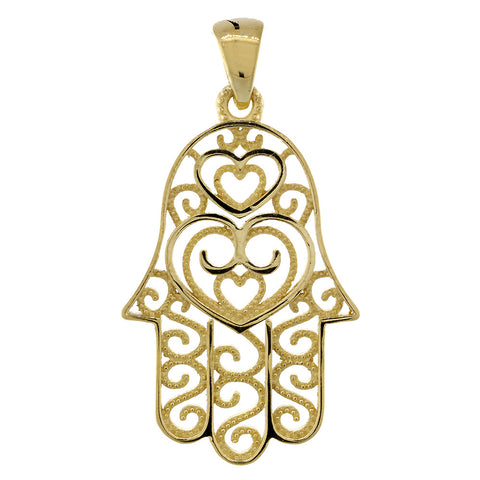 30mm Double-sided Vintage Hearts Hamsa, Hand of God Charm, 2 Levels in 18K Yellow Gold