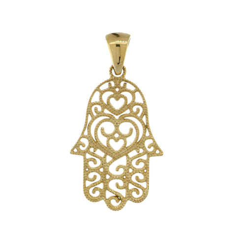 24mm Vintage Hearts Hamsa, Hand of God Charm in 14K Yellow Gold