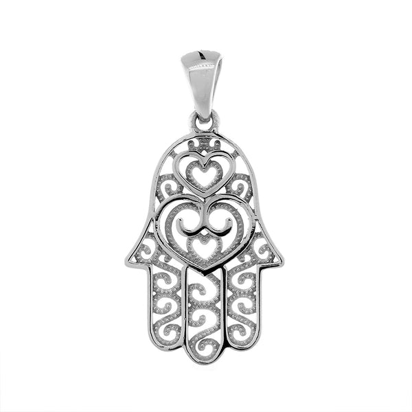 25mm Double-sided Vintage Hearts Hamsa, Hand of God Charm, 2 Levels in 14K White Gold