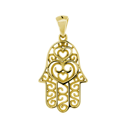 25mm Double-sided Vintage Hearts Hamsa, Hand of God Charm, 2 Levels in 14K Yellow Gold