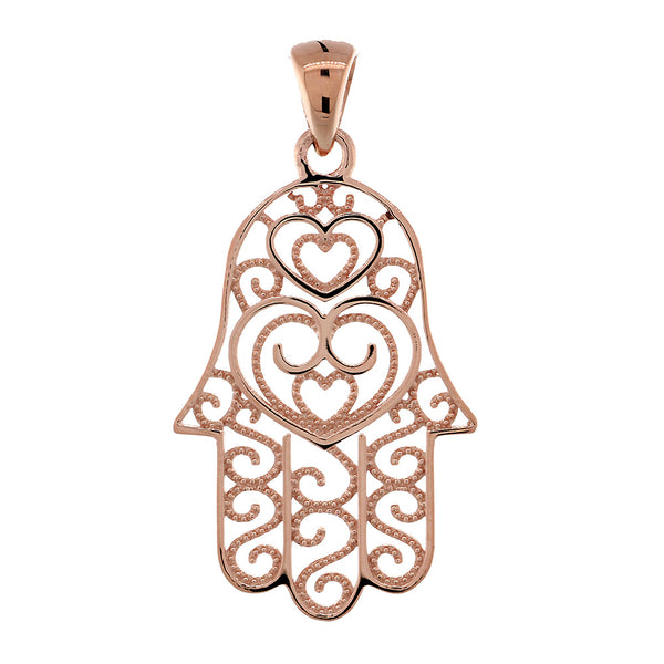 Thin Double-sided Vintage Hearts Hamsa, Hand of God Charm, 2 Levels in 14K Pink, Rose Gold