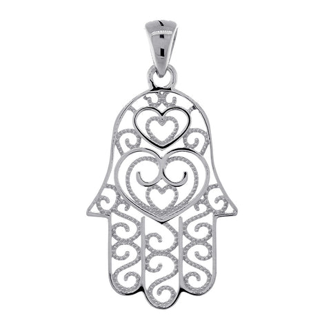30mm Thin Double-sided Vintage Hearts Hamsa, Hand of God Charm, 2 Levels in 14K White Gold