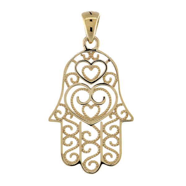 30mm Thin Double-sided Vintage Hearts Hamsa, Hand of God Charm, 2 Levels in 18K Yellow Gold