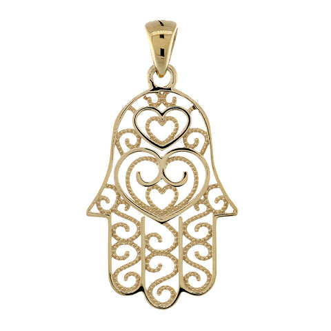 30mm Thin Double-sided Vintage Hearts Hamsa, Hand of God Charm, 2 Levels in 14K Yellow Gold