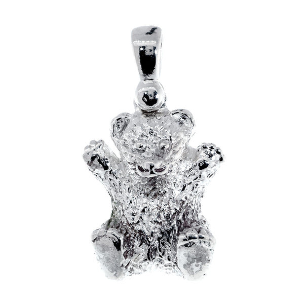 23mm 3D Teddy Bear Pendant in Sterling Silver