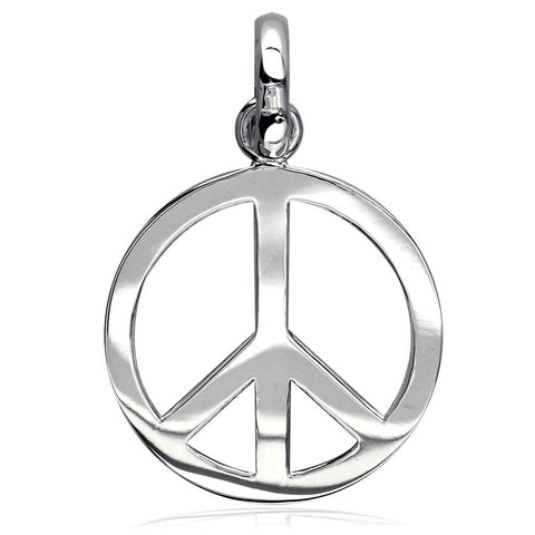 Large Peace Sign Charm, 1 Inch in Sterling Silver
