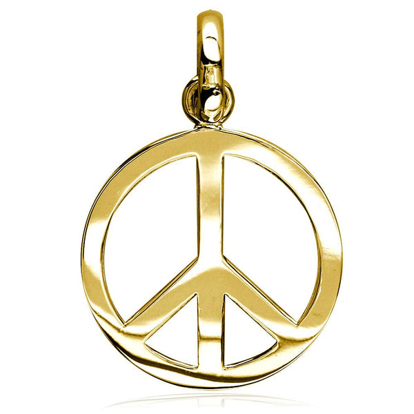 Large Peace Sign Charm, 1 Inch in 14K Yellow Gold