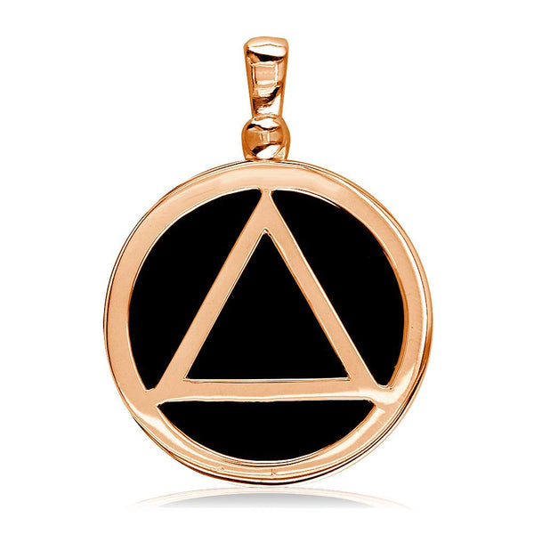 Large Black Onyx AA Sobriety Charm in 14K Pink, Rose Gold