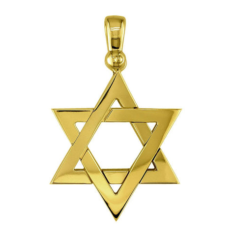 Large Jewish Star Charm in 14k Yellow Gold