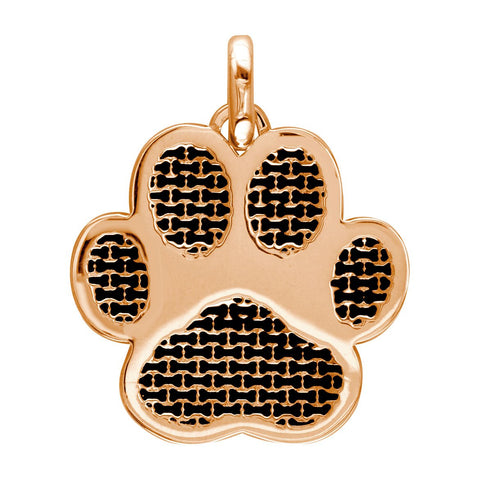 Jumbo Dog Paw Charm with Black in 14k Pink, Rose Gold