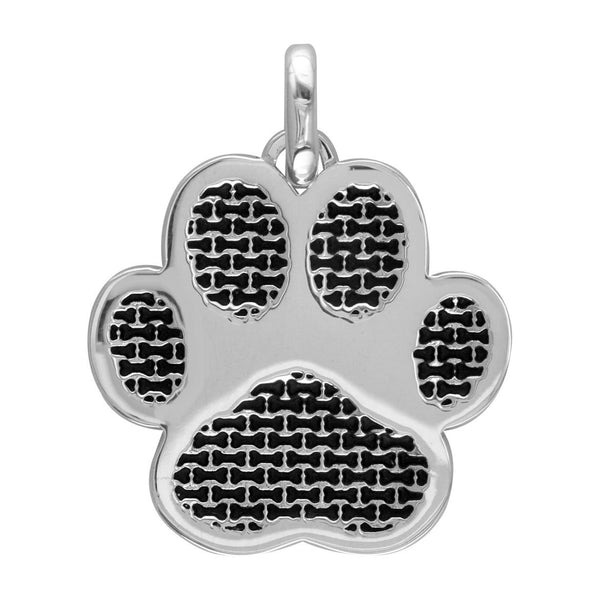 Jumbo Dog Paw Charm with Black in 14k White Gold