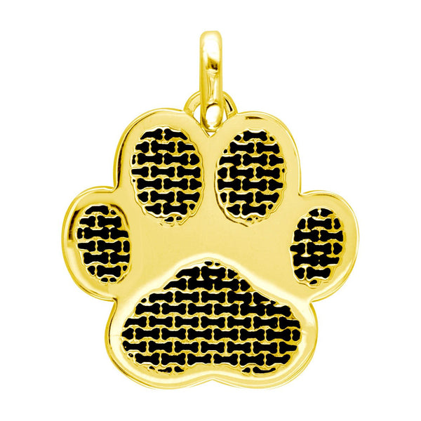 Jumbo Dog Paw Charm with Black in 18k Yellow Gold