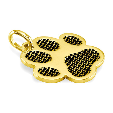 Jumbo Dog Paw Charm with Black in 14k Yellow Gold