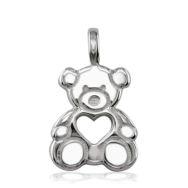 Large Thick Sziro Bear with Open Heart in Sterling Silver