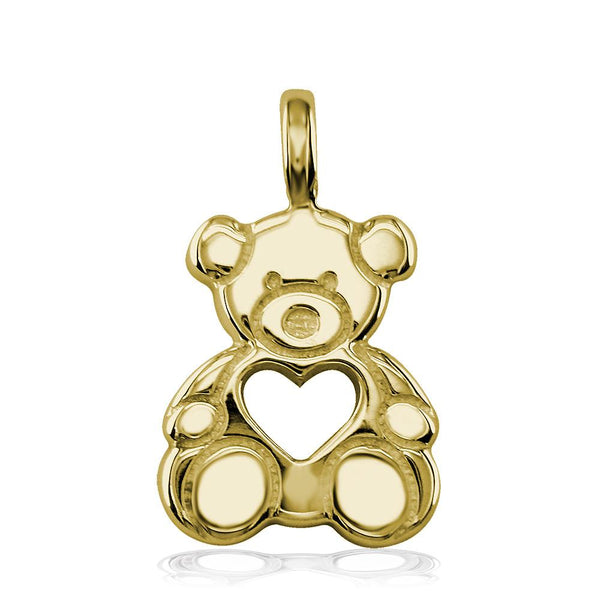Large Thick Sziro Bear with Open Heart in 14K Yellow Gold