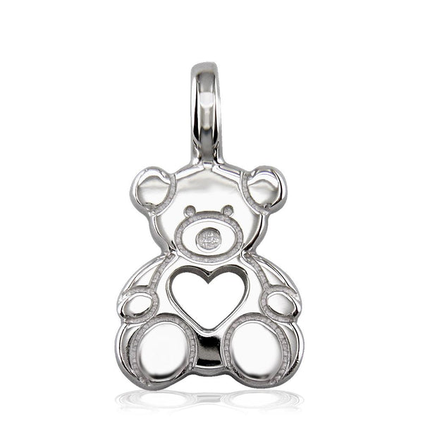 Medium Size Thick Sziro Bear with Open Heart in 14K White Gold