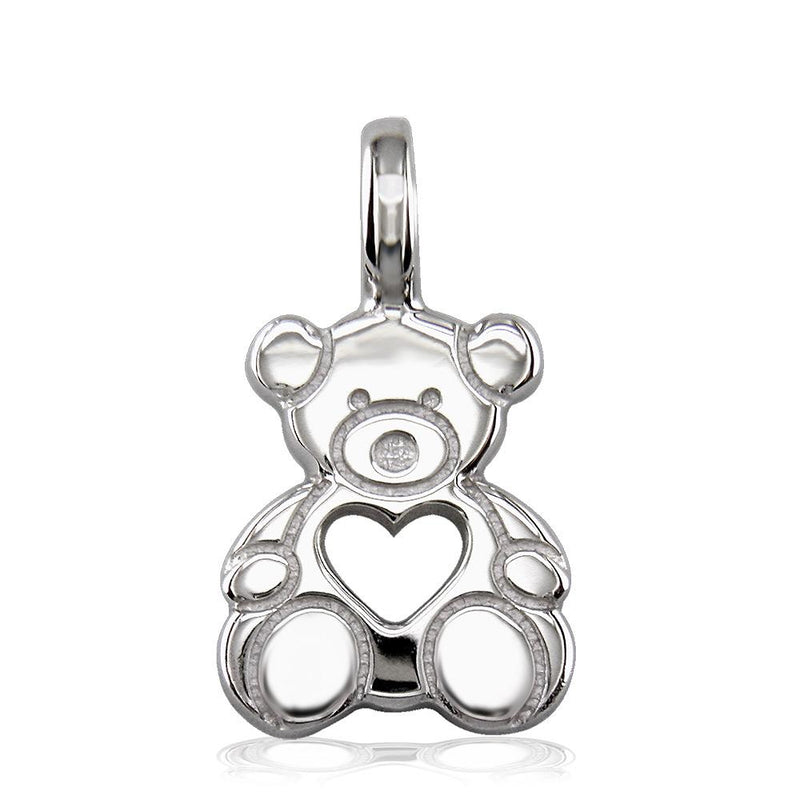 Medium Size Thick Sziro Bear with Open Heart in Sterling Silver