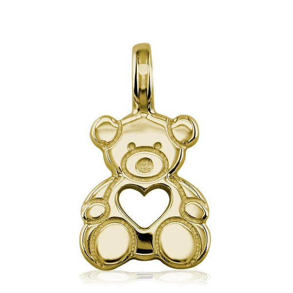 Medium Size Thick Sziro Bear with Open Heart in 14K Yellow Gold