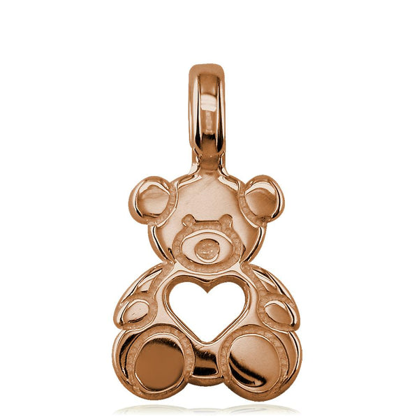 Small Size Thick Sziro Bear with Open Heart in 14K Pink, Rose Gold