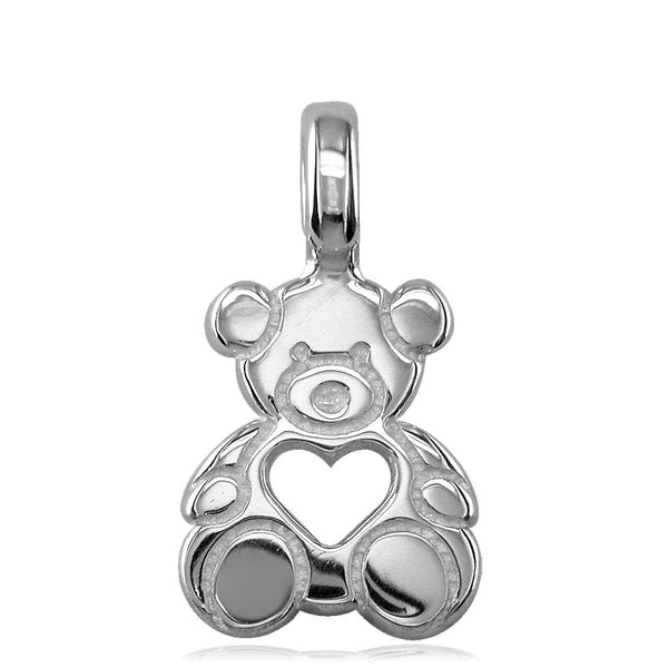 Small Size Thick Sziro Bear with Open Heart in 14K White Gold
