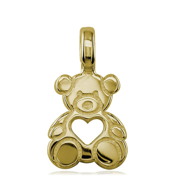 Small Size Thick Sziro Bear with Open Heart in 14K Yellow Gold