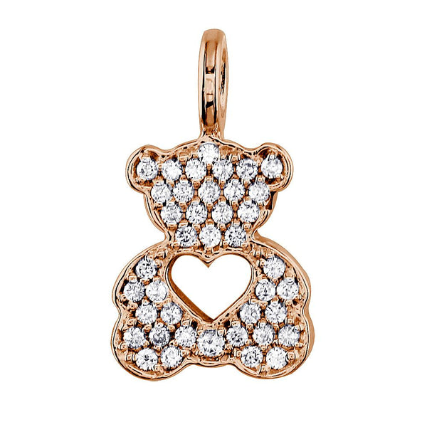 Medium Cubic Zirconia Sziro Teddy Bear with Open Heart in 14K Pink, Rose Gold