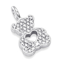 Medium Cubic Zirconia Sziro Teddy Bear with Open Heart in Sterling Silver
