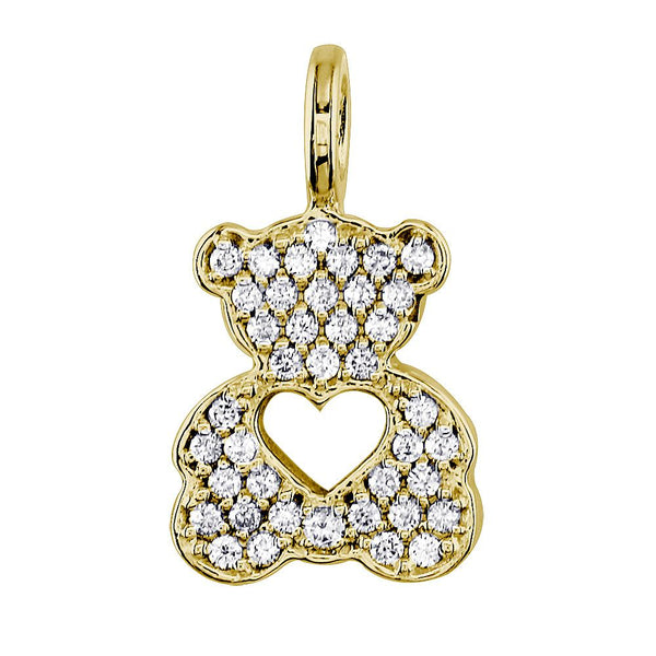 Medium Diamond Sziro Teddy Bear with Open Heart in 18k Yellow Gold